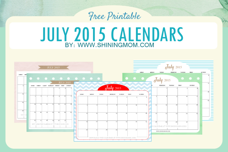 free printable july 2015 calendar cute