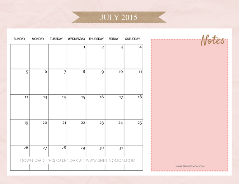 pretty July 2015 calendar with notes