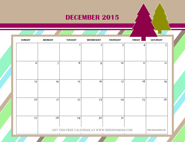 Christmas Dec 2015 Calendar Printable | Calendar Template 2016
