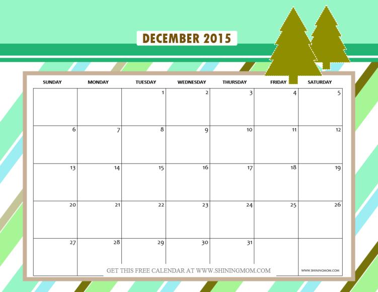 cute free printable december 2015 calendar