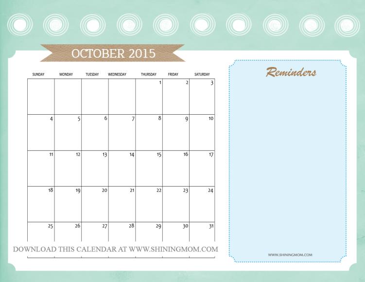 cute october 2015 calendar