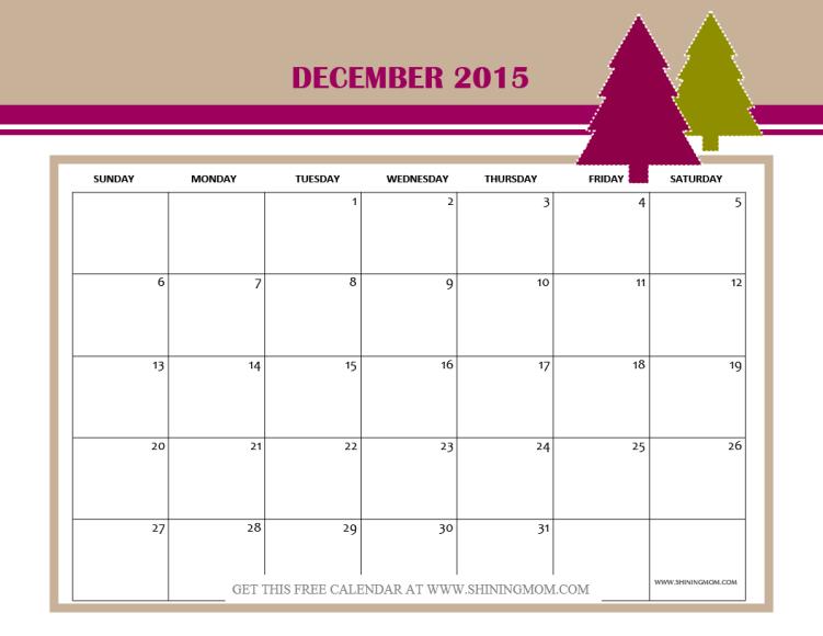 december 2015 free calendar