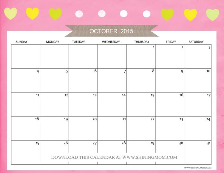 fre printable october 2015 calendar
