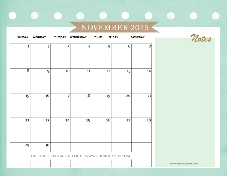 free 2015 november calendar colorful