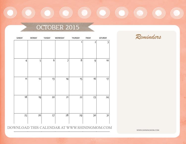 free October 2015 calendar printable
