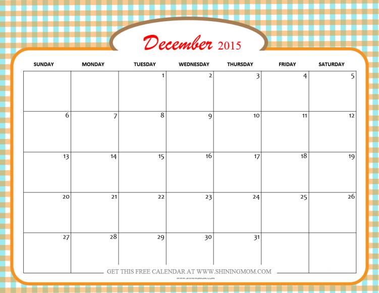 free december 2015 calendar
