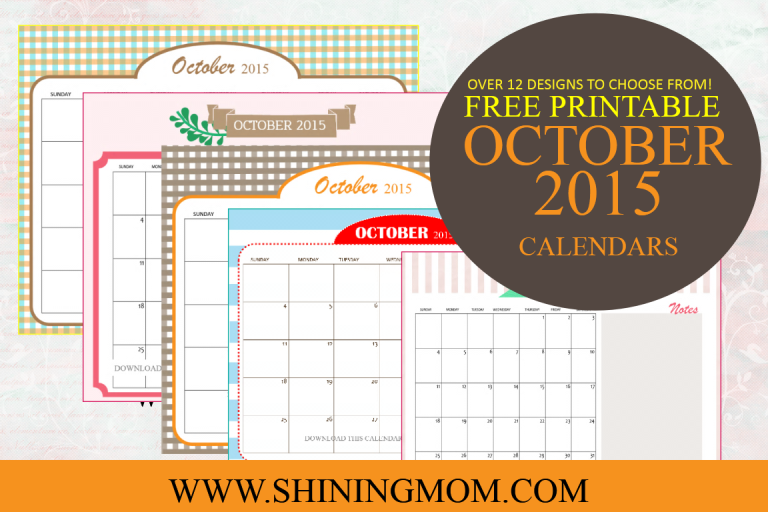 Check out our collection of free printable October 2015 calendars. We have 12 designs for you to choose from!