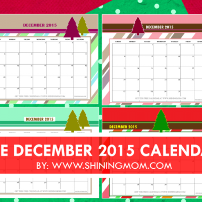 December 2015 Calendars {Christmas Themed Designs}