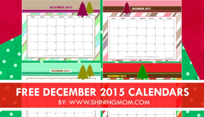 December 2015 Calendars {Christmas Themed Designs}
