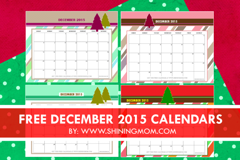 december 2015 calendars  christmas themed designs