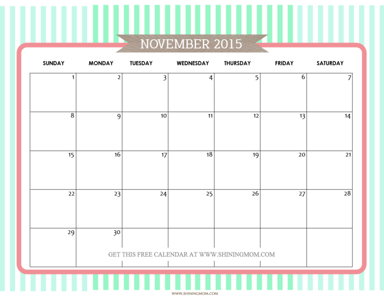 free printable november 2015 calendar by shiningmom.com