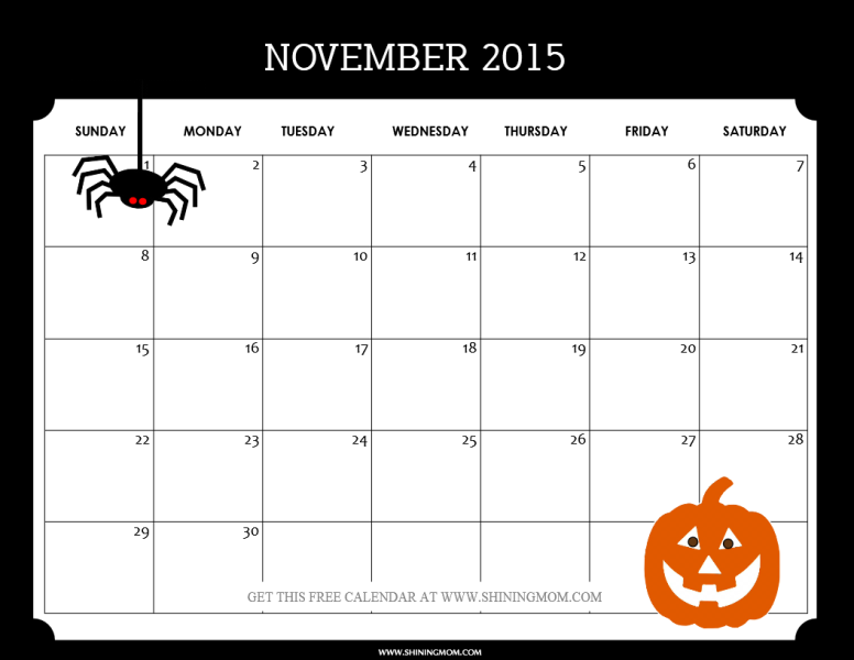 free downloadable 2015 calendar template - november 2015 calendars