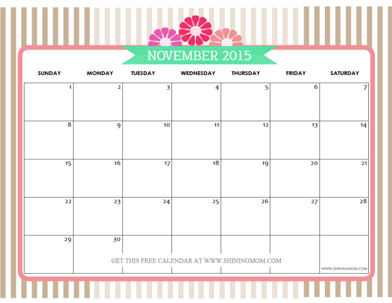 Free Printable November 2015 Calendar with Notes