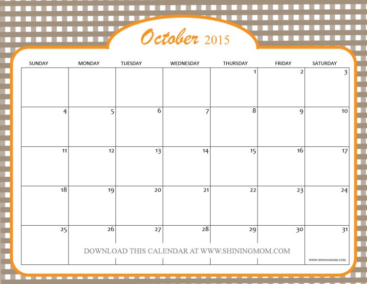 Calendar October 2015 Printable | Calendar Template 2016