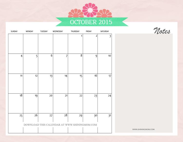 october 2015 calendar free pretty