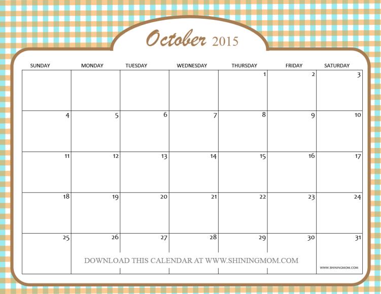 October Calendar Template 2015 : Free printable october calendars