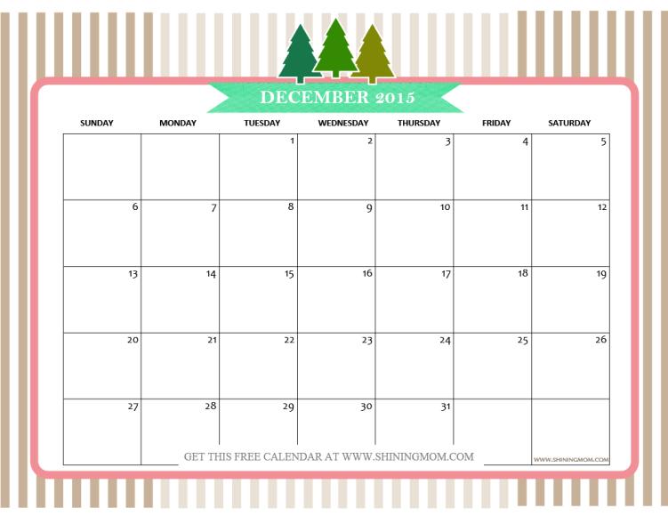 pretty December 2015 calendar