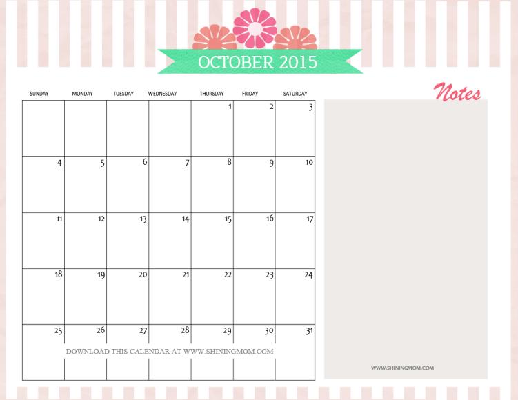 Calendar Pretty : Free printable october calendars