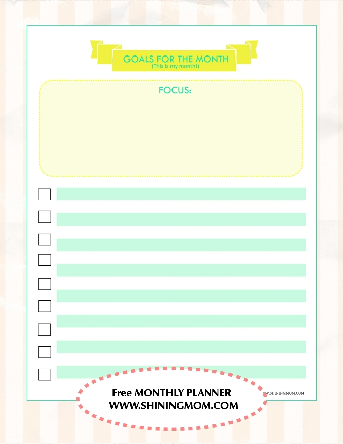 MONTHLY PLANNER FREE