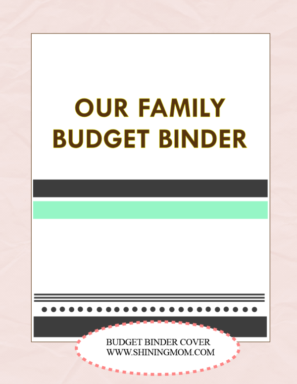 free printable family budget cover