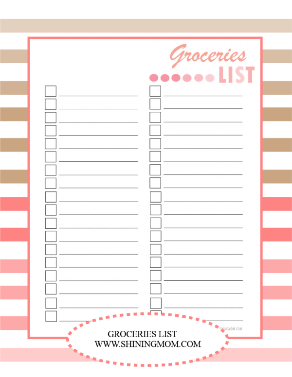 griceries list free printable