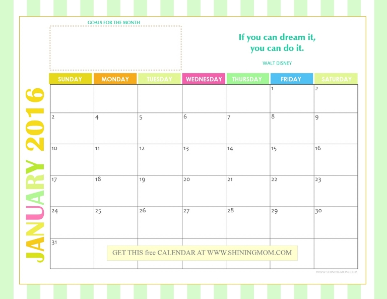 2016 monthly calendar free