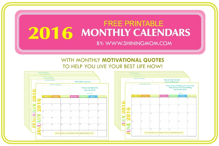 FREE 2016 MONTHLY CALENDARS