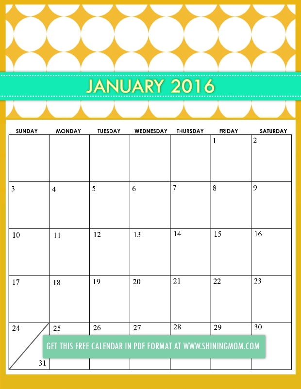 Cute Calendar January 2016 : Cute january calendar search results