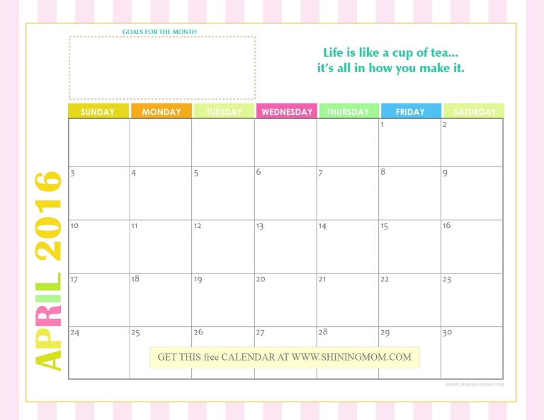 Calendar April 2016 : Free monthly calendars bright and cheery