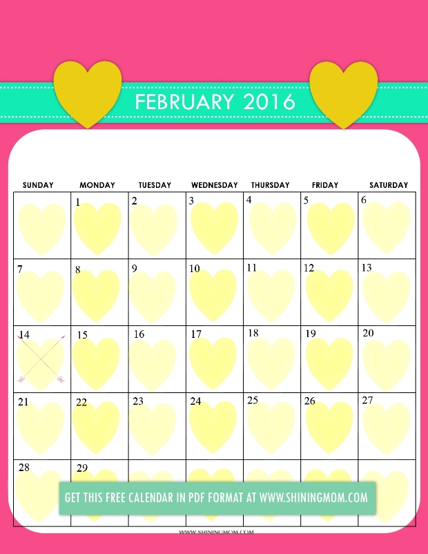 cute 2016 calendar February