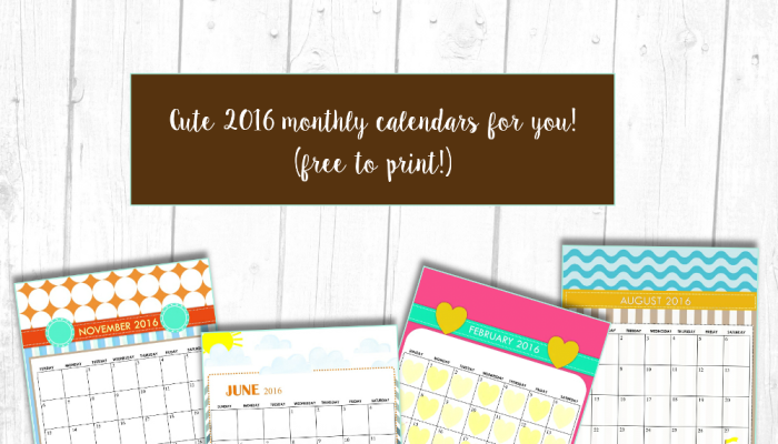 Free Printable: Cute 2016 Calendars by Shining Mom!
