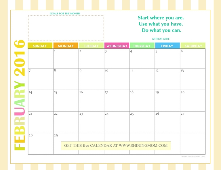 free 2016 monthly calendar