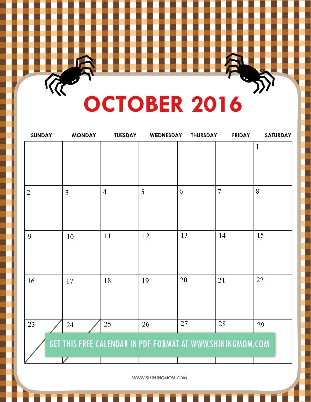 free cute 2016 calendar October