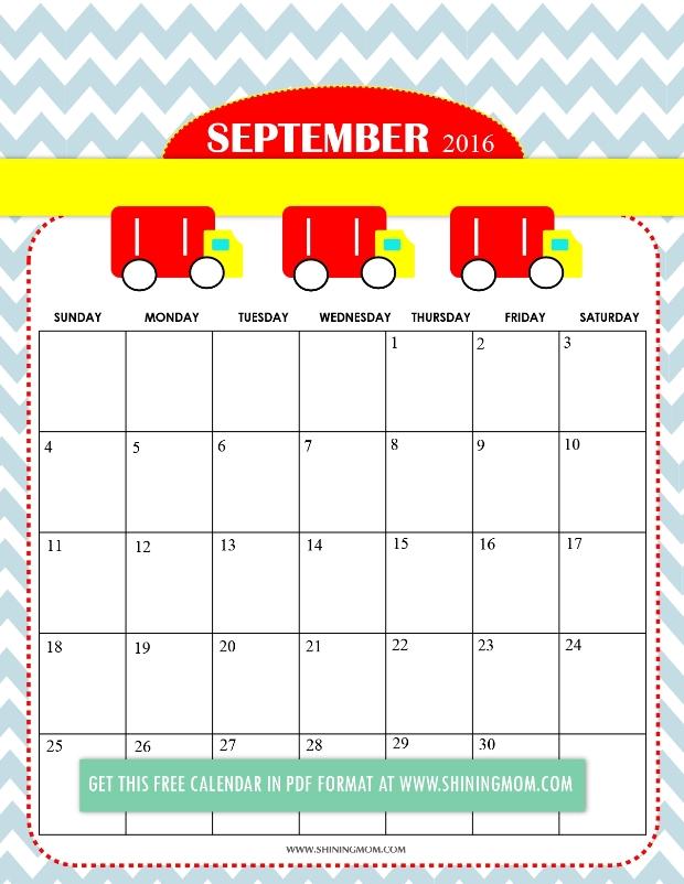free cute 2016 calendar September