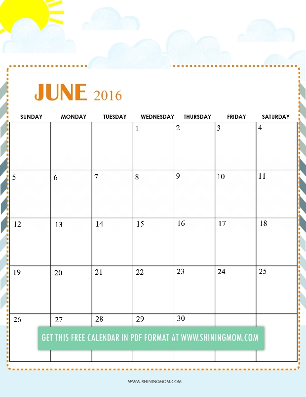 Your July 2016 calendar is sweet and dainty. The color combination is ...