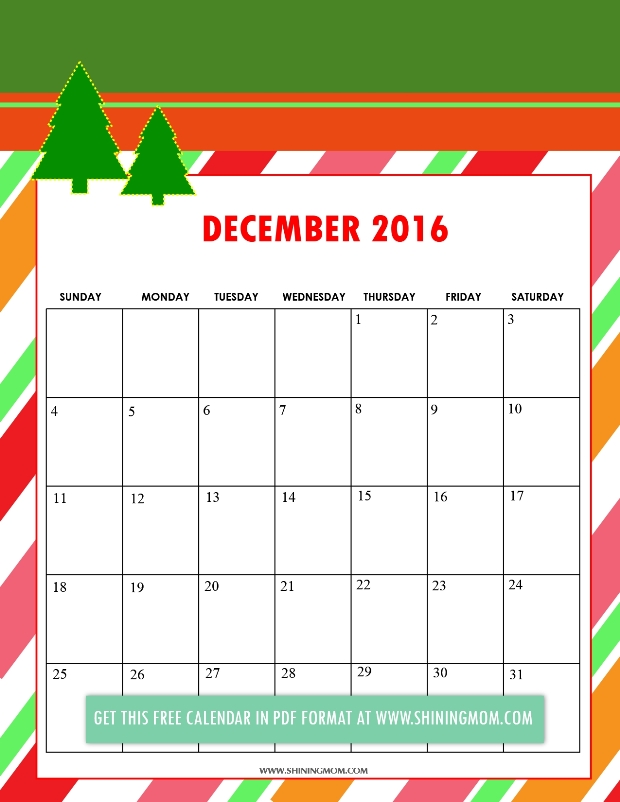 Your December 2016 calendar is of course of Christmas theme!