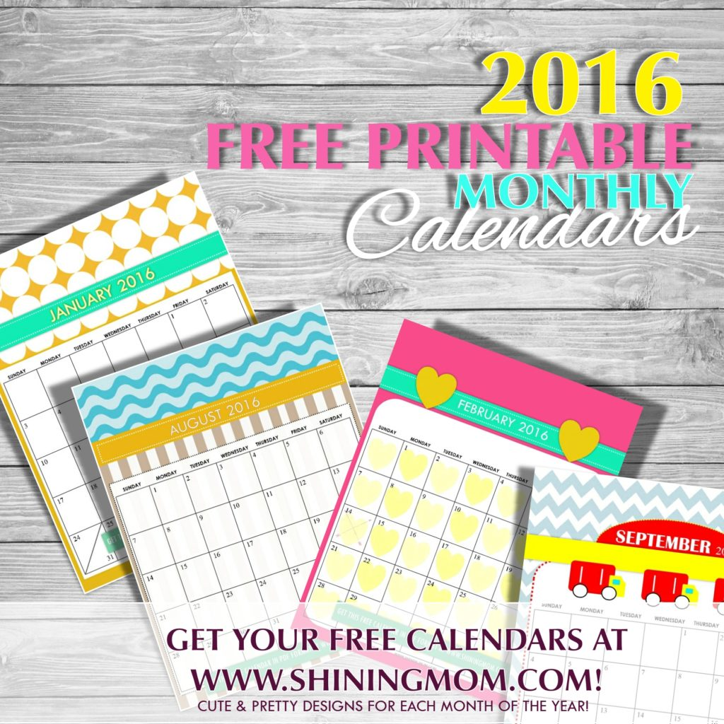 free monthly calendar for 2016