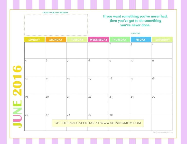 free printable montly calendar 2016