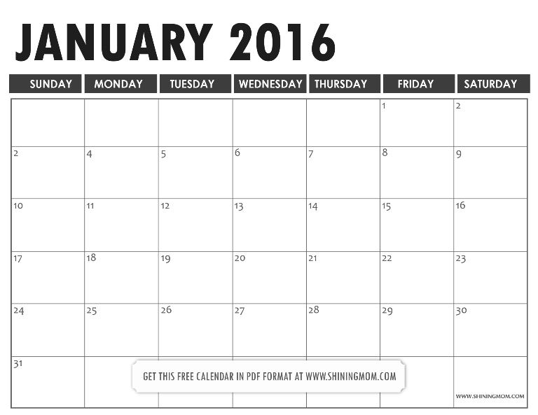 All Lovely: Free Printable January 2016 Calendars