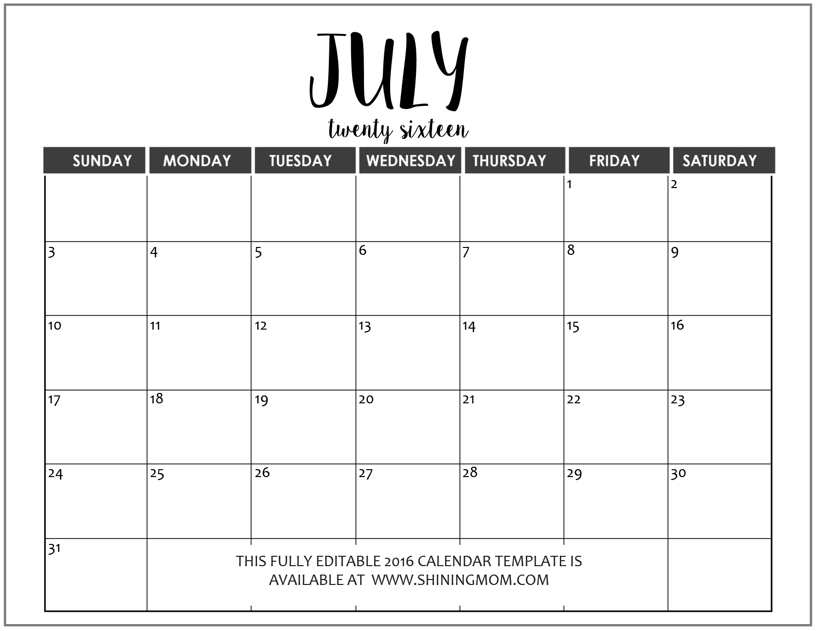 Calendar July : Just in fully editable calendar templates ms word