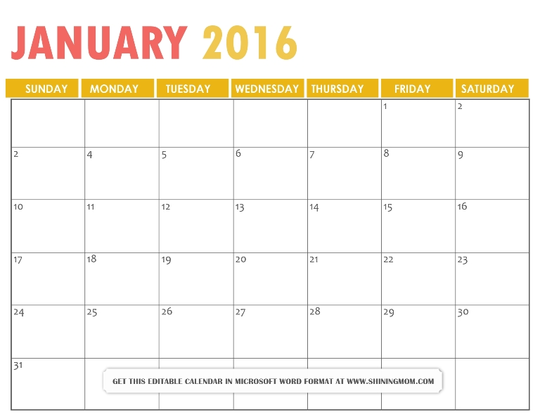 free printable January 2016 calendar Microsoft Word format