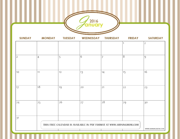 free printable January 2016 calendar crafty