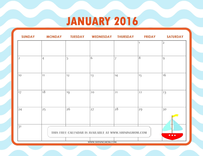 free printable January 2016 calendar cute