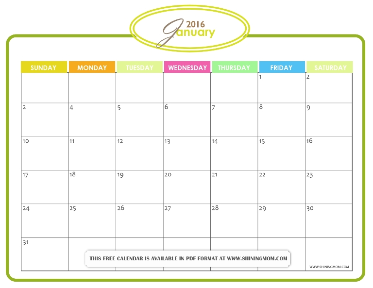 free printable January 2016 calendar in pdf