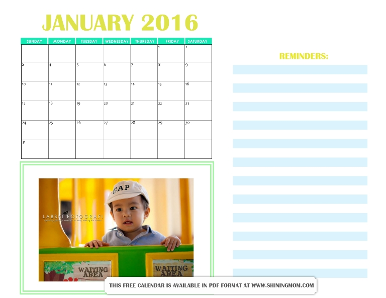 free printable January 2016 calendar personalized