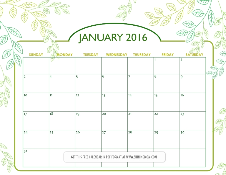 free printable January 2016 calendar via shining mom blog