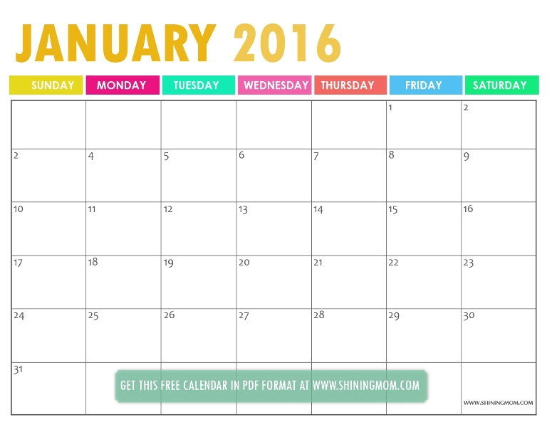 free printable January 2016 calendar via shining mom