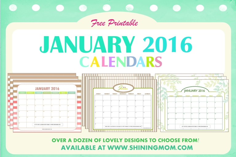 A dozen of lovely free printable January 2016 calendars sure to set your year to a good start! Be sure to snag a copy for yourself and your family!