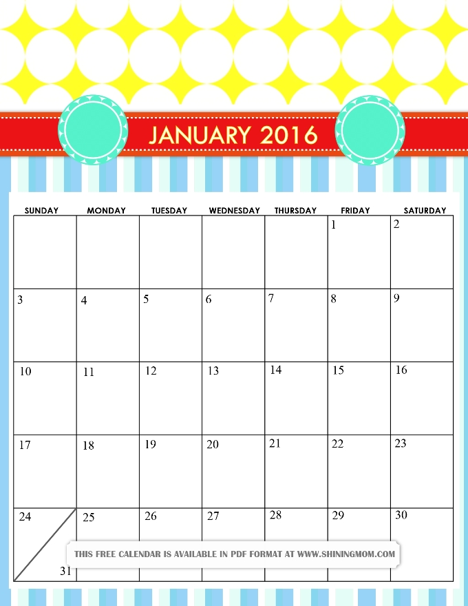 free printable cute January 2016 calendar