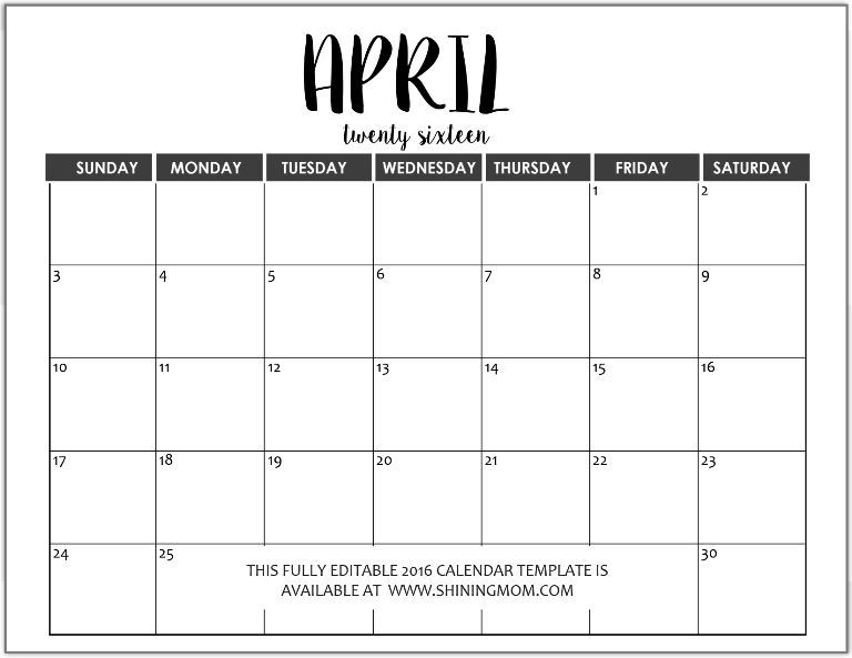 fully editable April 2016 calendar in MS Word